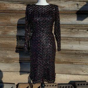 Vintage ~ Black Sequin w/ Red Underlay ~ Size M